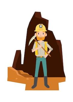 Ein mann benutzt viele werkzeuge, um gold in der höhle zu erhalten