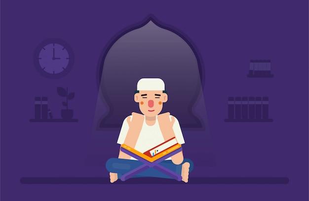 Ein mann betet nachts allein oder betet oder dzikr nach tahajud mit dem koran vor ihm konzeptillustration