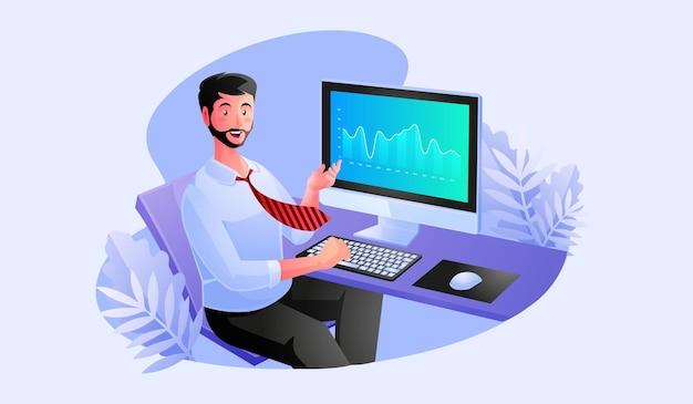 Ein mann, der an einem computer arbeitet, um daten zu analysieren