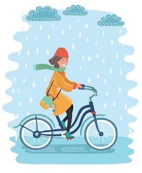 Ein mann, der an einem regnerischen tag mit dem fahrrad durch den pflanzenpark in krakau polen fährt