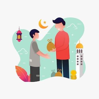Ein mann, der armen leuten geld gibt, flache illustration