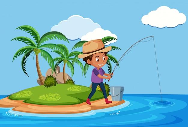 Ein mann, der auf der insel fischt