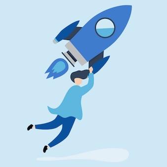 Ein mann, der auf eine gestartete rakete hält