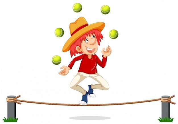 Ein mann, der auf seil jongliert