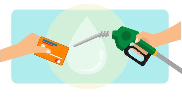 Ein mann, der benzinkraftstoff mit kreditkarte bezahlt