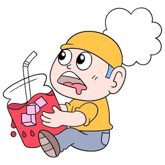 Ein mann, der bereit ist, sein schnelles eis in einem sehr frischen glas zu brechen, vektorillustrationskunst. doodle symbolbild kawaii.