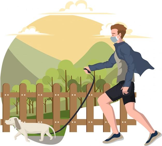 Ein mann, der draußen mit seiner hundeillustration joggt