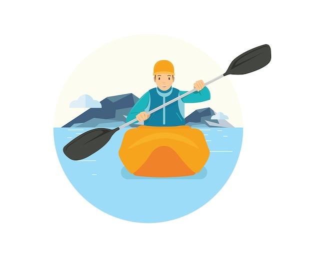 Ein mann, der ein kanu im see reitet