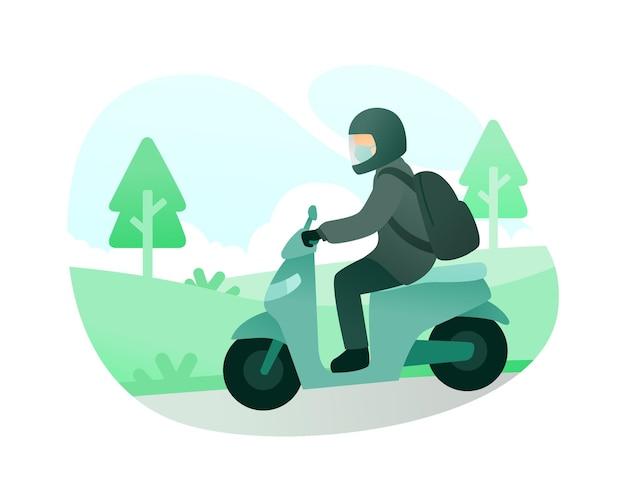Ein mann, der eine gesichtsmaske und einen helm trägt, während er einen roller fährt