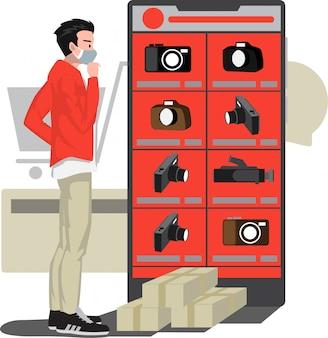 Ein mann, der eine neue kamera im online-shop der kamera wählt