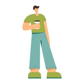 Ein mann, der eine tasse kaffee in der hand hält, vektorillustration