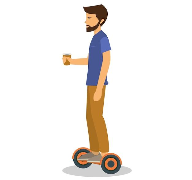Ein mann, der einen ausgeglichenen roller des schwebenden brettes reitet