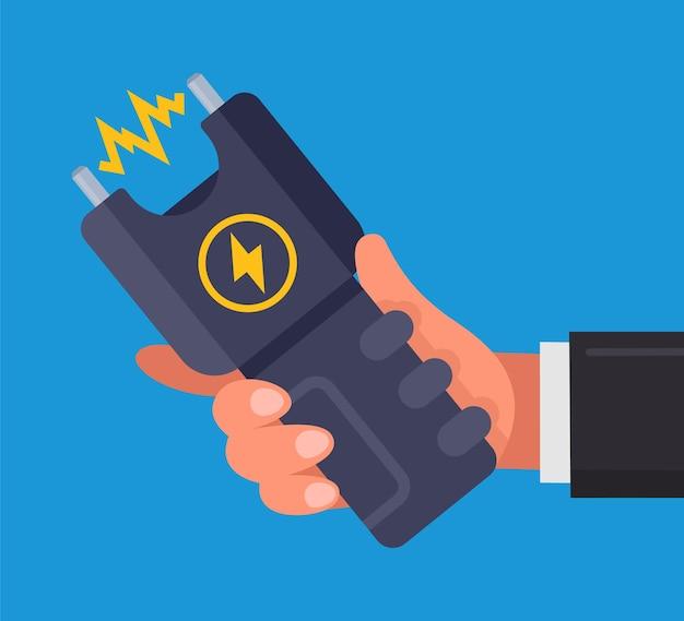 Ein mann, der einen elektroschocker in der hand hält. flache illustration isoliert auf blau.