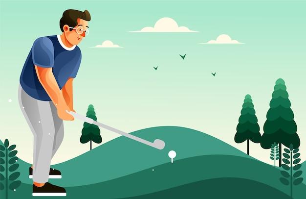 Ein mann, der golf am golfplatz spielt