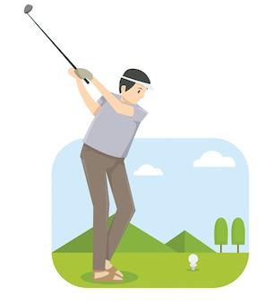 Ein mann, der golf im golfwettbewerb spielt