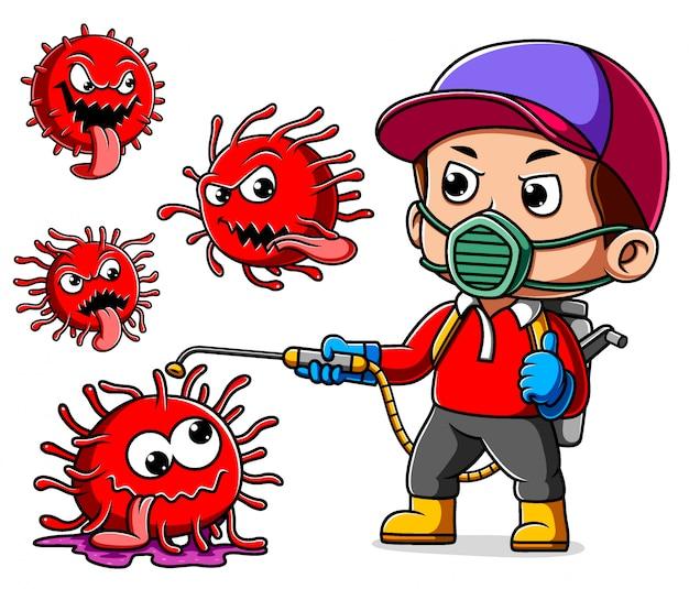 Ein mann, der maskenspray trägt, um coronavirus zu reinigen