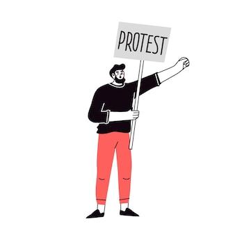Ein mann, der mit einem banner protestiert