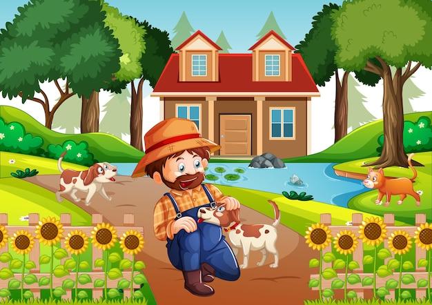 Ein mann, der mit einem hund in der naturszene spielt