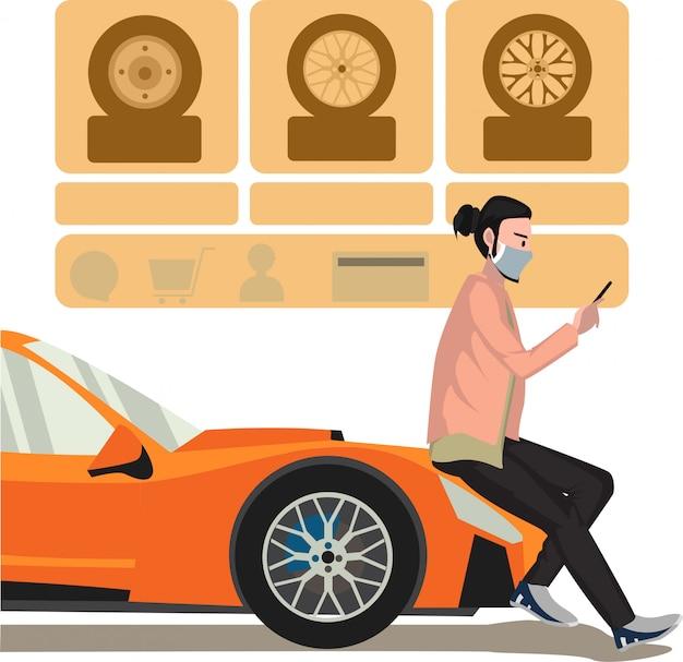 Ein mann, der neue reifen für sein auto über online-autoservice-illustration auswählt