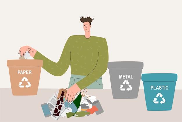 Ein mann, der sich um die umwelt kümmert, sortiert abfall in separate behälter und wirft ihn in den müll...