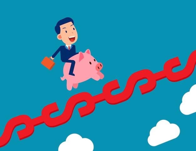 Ein mann, der sparschwein und wachstum auf geldzeichen reitet