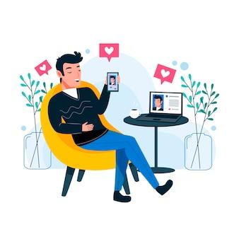 Ein mann, der süchtig nach social media ist