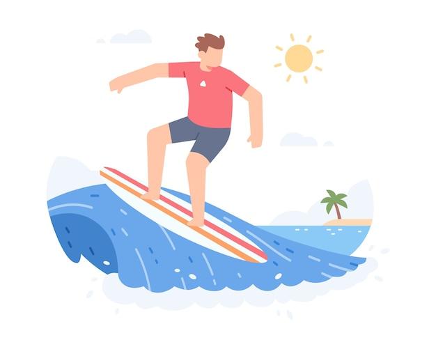 Ein mann, der surfbrett reitet