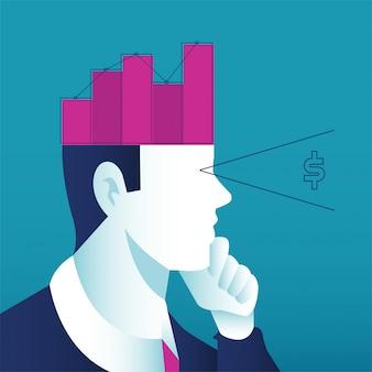 Ein mann, der über geschäftskonzept nachdenkt. offener kopf mit wachsender grafik steigert den umsatz und die investition.