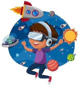 Ein mann, der virtual-reality-spiel spielt