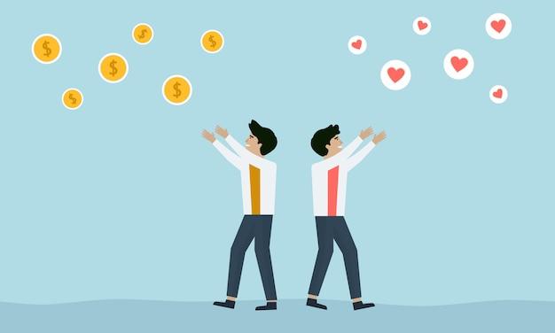 Ein mann entscheidet sich dafür, liebe oder geld in der luft zu empfangen