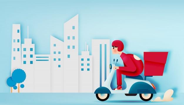 Ein mann fährt ein rollermotorrad für das liefergeschäft