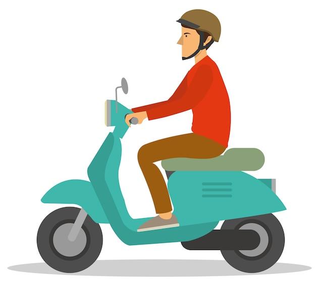 Ein mann fährt einen motorradroller durch die stadt
