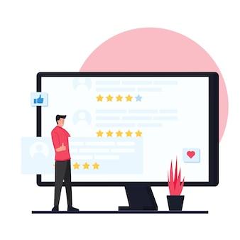 Ein mann führt eine kundenumfrage durch und stellt sie auf den monitor.