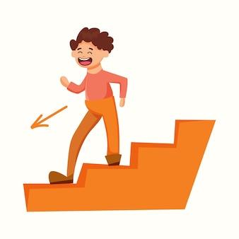 Ein mann geht die treppe hinunter. vektorillustration im flachen stil
