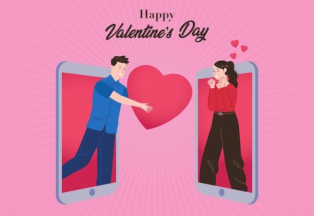 Ein mann gibt seinem partner ein herz durch ein handy, das den valentinstag feiert