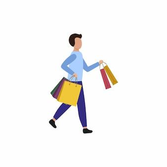 Ein mann hält einkaufstüten in den händen und rennt. vektor flacher charakter. das konzept des einkaufens, rabatte und werbeaktionen.