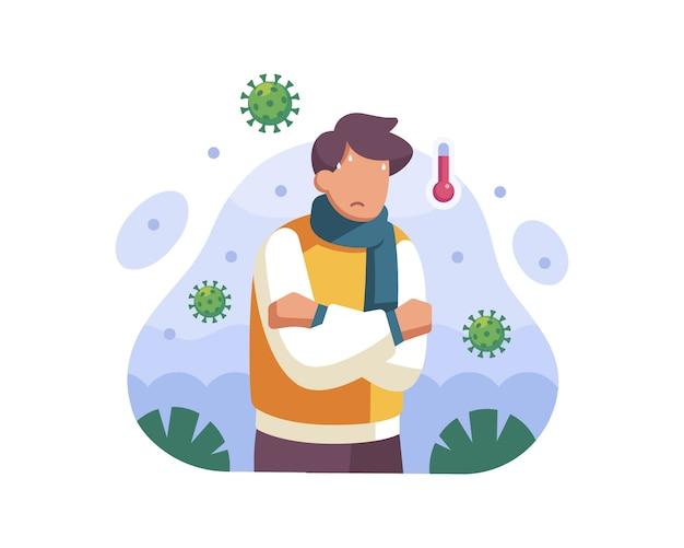 Ein mann hat fieber und zeigt symptome einer coronavirus-infektion