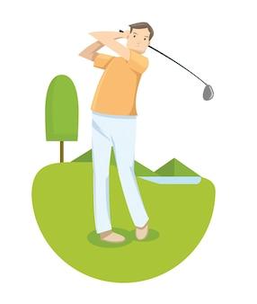 Ein mann im gelben hemd, das golf im golfwettbewerb spielt