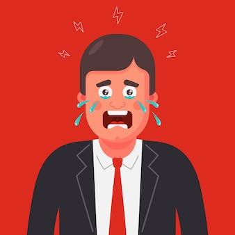 Ein mann in anzug und krawatte weint. panikattacke abbildung.