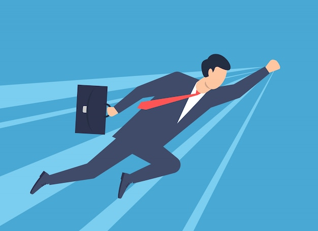 Ein mann in einem business-anzug superman, superheld. illustration
