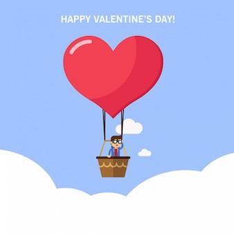Ein mann in einem heißluftballon, der nach liebe sucht. valentinstagskarte