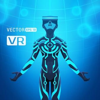 Ein mann in einem helm der virtuellen realität