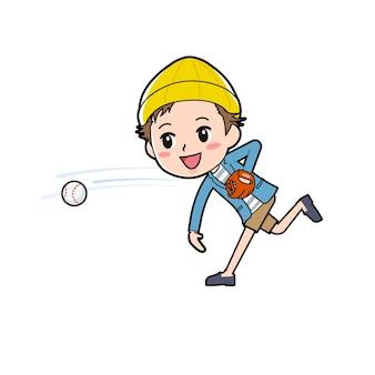 Ein mann in jacke und kurzer hose mit der geste, einen ball zu werfen