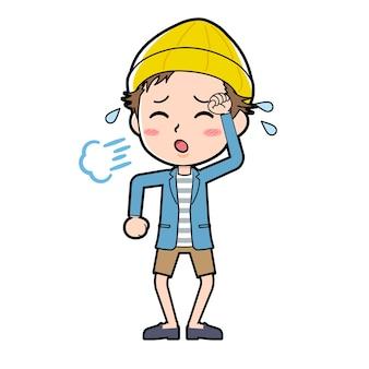 Ein mann in jacke und kurzer hose mit einer geste der müdigkeit