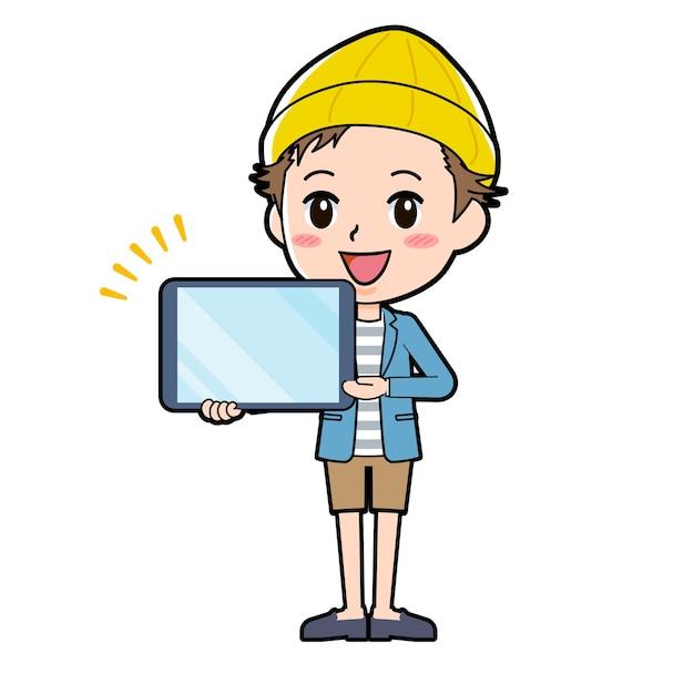 Ein mann in jacke und kurzer hose mit einer geste der tablet-präsentation