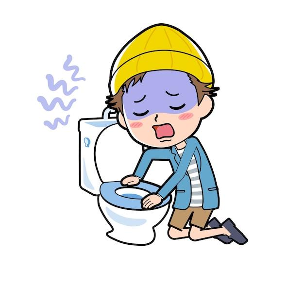 Ein mann in jacke und kurzer hose mit einer geste der übelkeit auf der toilette