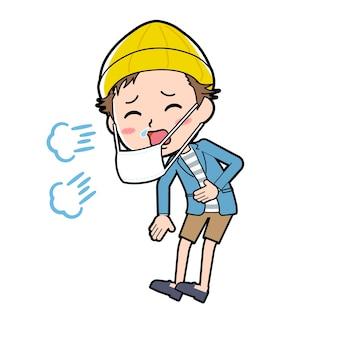 Ein mann in jacke und kurzer hose mit einer geste des niesens