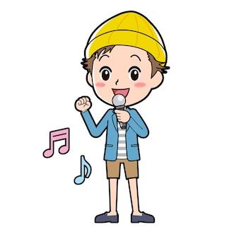 Ein mann in jacke und kurzer hose mit einer geste des song-appeals