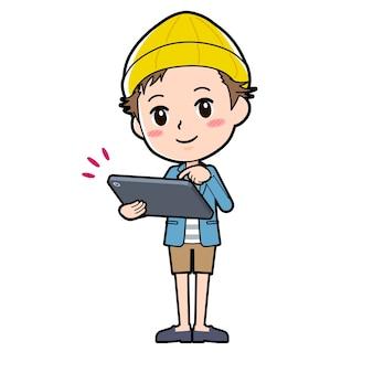 Ein mann in jacke und kurzer hose mit einer geste des tablet-touch