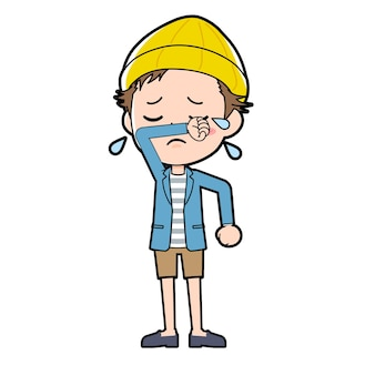 Ein mann in jacke und kurzer hose mit einer geste des weinens